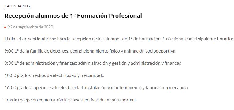 Recepción alumnos de 1º Formación Profesional