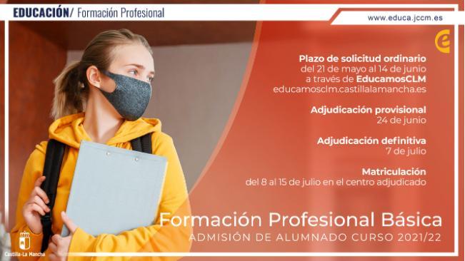 Convocatoria de admisión de alumnado para el curso 21/22 en los ciclos de F. P. Básica