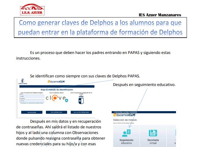 Generar claves de Delphos a los alumnos para la plataforma de formación