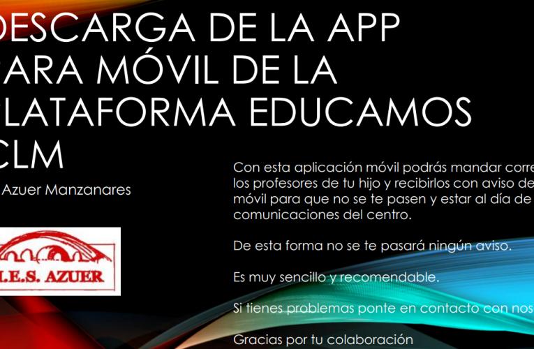 Descarga de la APP para móvil de la plataforma EducamosCLM